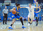 January 14, 2017:  San Jose State guard, Gary Williams #2, works against Falcon, Jacob Van #15, during the NCAA basketball game between the San Jose State Spartans and the Air Force Academy Falcons, Clune Arena, U.S. Air Force Academy, Colorado Springs, Colorado.  San Jose State defeats Air Force 89-85.