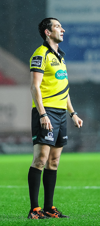 Todays Referee Gary Conway <br /> <br /> Photographer Craig Thomas/CameraSport<br /> <br /> Rugby Union - Guinness PRO12 - Scarlets v Zebre - Saturday 1st November 2014 - Parc y Scarlets - Llanelli<br /> <br /> &copy; CameraSport - 43 Linden Ave. Countesthorpe. Leicester. England. LE8 5PG - Tel: +44 (0) 116 277 4147 - admin@camerasport.com - www.camerasport.com