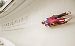 """5 December 2015: Kimberley McRae, competing for Canada, slides through Curve 10 """"Shady"""" on her first run of the Viessmann World Cup Women's Luge at the Olympic Sports Track in Lake Placid, New York, USA. Mandatory Credit: Ed Wolfstein Photo *** RAW (NEF) Image File Available ***"""