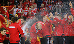 BELGRADE, SERBIA - DECEMBER 16: Montenegro handball team players celebrate during the Women's European Handball Championship 2012 medal ceremony at Arena Hall on December 16, 2012 in Belgrade, Serbia. (Photo by Srdjan Stevanovic/Getty Images)