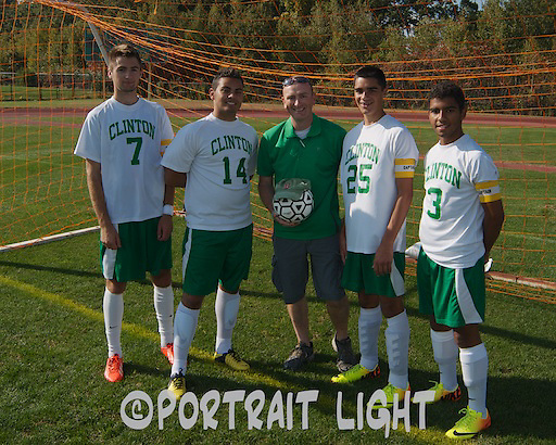 The 2013 CHS boys soccer captains (from left) junior Jeff Tetreault, senior Erick Barbosa, senior Anthony Innamorati and junior Felipe Bispo stand with coach Adam Ingano.