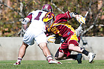 Los Angeles, CA 02/20/10 - Andrew Smulligan (USC # 7) and \L16\ in action during the USC-Loyola Marymount University MCLA/SLC divisional game at Leavey Field (LMU).  LMU defeated USC 10-7.