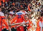 ROTTERDAM -  Opkomst van Oranje , met oa Roel Bovendeert (NED)     voor  de Pro League hockeywedstrijd heren, Nederland-Spanje (4-0) . COPYRIGHT KOEN SUYK