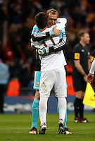 Pictured: (L-R) Pablo Hernandez, Gerhard Tremmel. Sunday 24 February 2013<br /> Re: Capital One Cup football final, Swansea v Bradford at the Wembley Stadium in London.
