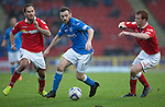 St Johnstone v Ross County....22.11.14   SPFL<br /> James McFadden gets between Scott Boyd and Martin Woods<br /> Picture by Graeme Hart.<br /> Copyright Perthshire Picture Agency<br /> Tel: 01738 623350  Mobile: 07990 594431