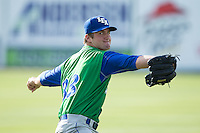 Lexington Legends starting pitcher Foster Griffin (33) warms up in the outfield prior to the game against the Kannapolis Intimidators at CMC-Northeast Stadium on May 25, 2015 in Kannapolis, North Carolina.  The Intimidators defeated the Legends 6-5.  (Brian Westerholt/Four Seam Images)