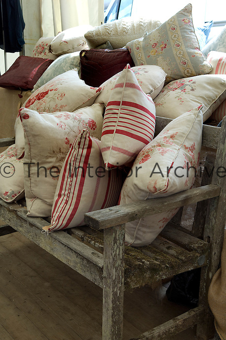 Cushions made from old curtain fabric and antique linens at Ardingly Antiques Fair