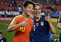 Cleveland, Ohio - Tuesday June 12, 2018: Li Ying, Carli Lloyd during an international friendly match between the women's national teams of the United States (USA) and China PR (CHN) at FirstEnergy Stadium.