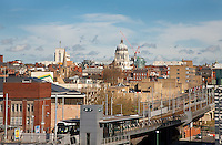 Nottingham skyline with Council House and Tram station and the Broadmarsh bus station and Theatre Royal off to the left