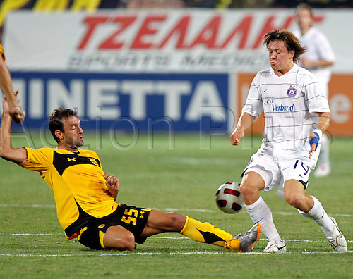 17 08 2010 Europa League Play-off, first leg, Aris Solonika 1 Austria Vienna 0, August 17th, Thessaloniki Greece, Thanasis Prittas, Aristide and Marko Stankovic, A Vienna