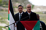 Palestinian Prime Minister, Rami Hamdallah, attends the opening ceremony of a medical centre in the village of Beit Ula, north of the West Bank city of Hebron on January 28, 2019. Photo by Wisam Hashlamoun