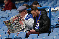 Chelsea fans reading the paper during the pre-match warm up <br /> <br /> Photographer Stephanie Meek/CameraSport<br /> <br /> The Premier League - Chelsea v Everton - Sunday 8th March 2020 - Stamford Bridge - London<br /> <br /> World Copyright © 2020 CameraSport. All rights reserved. 43 Linden Ave. Countesthorpe. Leicester. England. LE8 5PG - Tel: +44 (0) 116 277 4147 - admin@camerasport.com - www.camerasport.com