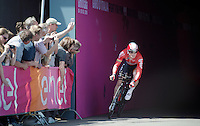 André Greipel (DEU/Lotto-Soudal) leaving the velodrome tunnel at the start of the prologue<br /> <br /> stage 1: Apeldoorn prologue 9.8km<br /> 99th Giro d'Italia 2016