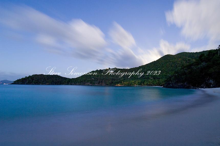 Hawksnest Beach at dusk.Virgin Islands National Park.St. John, US Virgin Islands