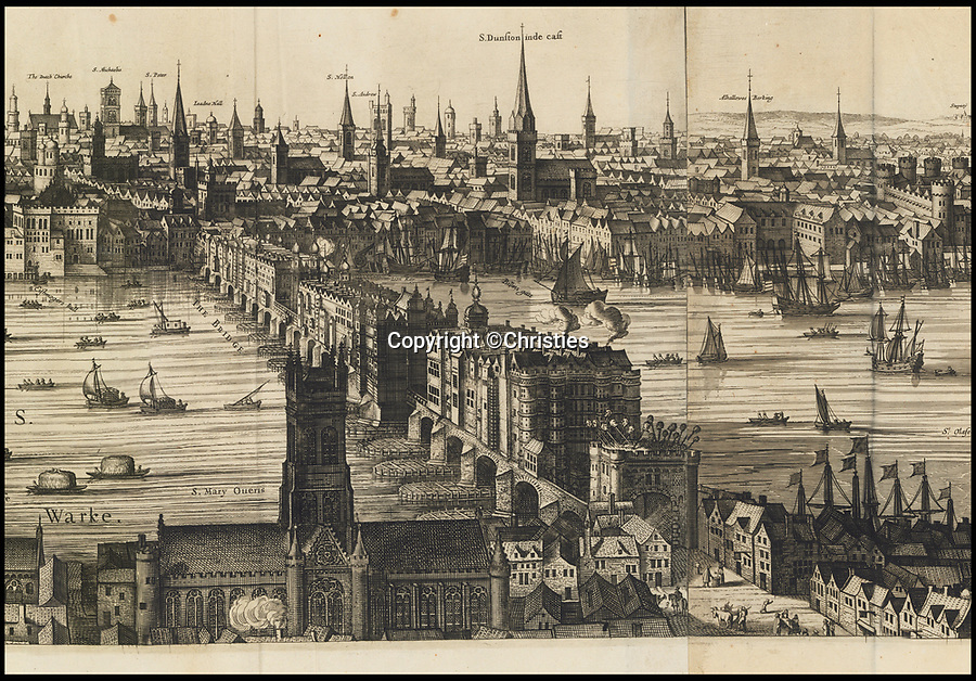 BNPS.co.uk (01202 558833)<br /> Pic: Christies/BNPS<br /> <br /> Fascinating depiction of Old London Bridge...complete with heads on spikes on the southern gatehouse.<br /> <br /> A remarkable 393 year old panorama of London which reveals how the city looked before the great fire destroyed large parts of it has sold at auction for £106,000.<br /> <br /> The 7ft panorama, taken from the South Bank, has the old St Paul's Cathedral and London Bridge, which were rebuilt following the blaze, as central features.<br /> <br /> Remarkably, its creator, the Dutch engraver and cartographer Claes Jansz Visscher, never visited London, so the panorama required some imagination - the Tower of London boasts onion-styled domes.<br /> <br /> It is one of only two known copies to exist, with the other one residing in the Folger Library in Washington DC, United States.