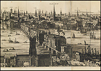 BNPS.co.uk (01202 558833)<br /> Pic: Christies/BNPS<br /> <br /> Fascinating depiction of Old London Bridge...complete with heads on spikes on the southern gatehouse.<br /> <br /> A remarkable 393 year old panorama of London which reveals how the city looked before the great fire destroyed large parts of it has sold at auction for &pound;106,000.<br /> <br /> The 7ft panorama, taken from the South Bank, has the old St Paul's Cathedral and London Bridge, which were rebuilt following the blaze, as central features.<br /> <br /> Remarkably, its creator, the Dutch engraver and cartographer Claes Jansz Visscher, never visited London, so the panorama required some imagination - the Tower of London boasts onion-styled domes.<br /> <br /> It is one of only two known copies to exist, with the other one residing in the Folger Library in Washington DC, United States.