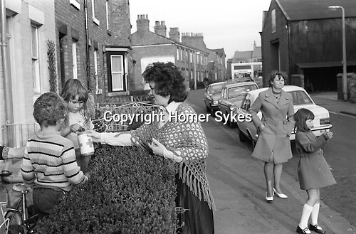 Burscough Lancashire UK Good Friday revival Pace Egg Easter Play. 13th April 1974. Maurice Haynes reviving local custom, he is not local to the area. They collected &pound;40-00 in 3 hrs for the Red Cross.<br />