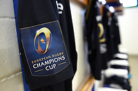 A general view of European Rugby Champions Cup branding on Bath Rugby jerseys. European Rugby Champions Cup match, between Benetton Rugby and Bath Rugby on January 20, 2018 at the Municipal Stadium of Monigo in Treviso, Italy. Photo by: Patrick Khachfe / Onside Images