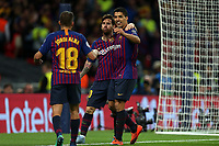 Lionel Messi of FC Barcelona is congratulated after scoring the fourth goal during Tottenham Hotspur vs FC Barcelona, UEFA Champions League Football at Wembley Stadium on 3rd October 2018