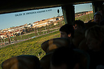 The former prison of Caceres seen from the bus carrying people to tak part on the march. Caceres (Spain). February 20, 2016. Some friends and relatives of Basque political prisoners take part on a march to Caceres penitentiary center, within the campaign of 40 marches to 40 prisons where Basque prisoners are imprisoned. These marches are to denounce the dispersal policy those prisoners suffer since more than 25 years. (Gari Garaialde / Bostok Photo)