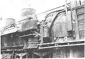 Close-up view of fireman's-side of D&amp;RGW #464 showing air pump and steam and sand domes.<br /> D&amp;RGW  Durango, CO  Taken by Schnepf, Ted - 6/1971