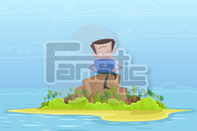 Illustrative image of businessman using laptop on rock in middle of sea representing business travel