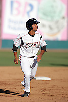 Cole Figueroa of the Lake Elsinore Storm during game against the Bakersfield Blaze at The Diamond in Lake Elsinore,California on July 25, 2010. Photo by Larry Goren/Four Seam Images