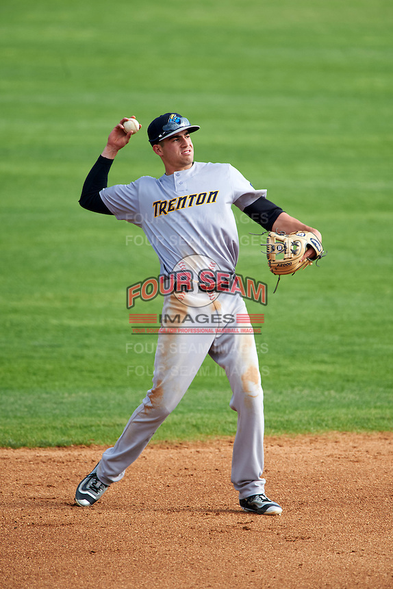 Trenton Thunder shortstop Tyler Wade (14) during the first game of a doubleheader against the Hartford Yard Goats on June 1, 2016 at Sen. Thomas J. Dodd Memorial Stadium in Norwich, Connecticut.  Trenton defeated Hartford 4-2.  (Mike Janes/Four Seam Images)