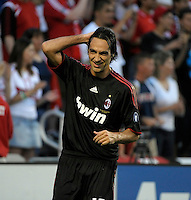AC Milan defender Alessandro Nesta (13) smiles after his header went just wide of the goal.  AC Milan defeated the Chicago Fire 1-0 at Toyota Park in Bridgeview, IL on May 30, 2010.