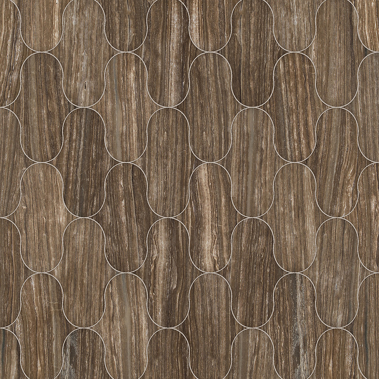 Cabana, a waterjet cut stone mosaic, shown in polished Bayard, is part of the Semplice® collection for New Ravenna.
