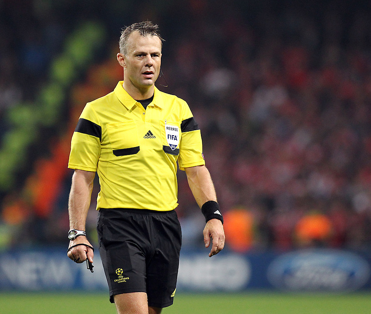 Referee Bjorn Kuipers (NED) <br /> <br /> Photo by Rich Linley/CameraSport<br /> <br /> Football - UEFA Champions League Group D - Manchester City v Bayern Munich - Wednesday 2nd October 2013 -  Etihad Stadium - Manchester<br /> <br /> &copy; CameraSport - 43 Linden Ave. Countesthorpe. Leicester. England. LE8 5PG - Tel: +44 (0) 116 277 4147 - admin@camerasport.com - www.camerasport.com