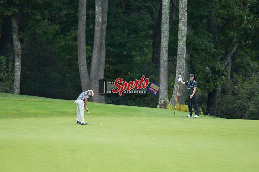 Tanner Owen putts the ball on the second green at the Primland Collegiate Invitational at the Primland Resort on September 29, 2014 in Meadows of Dan, Virginia.  (Brian Westerholt/Sports On Film)
