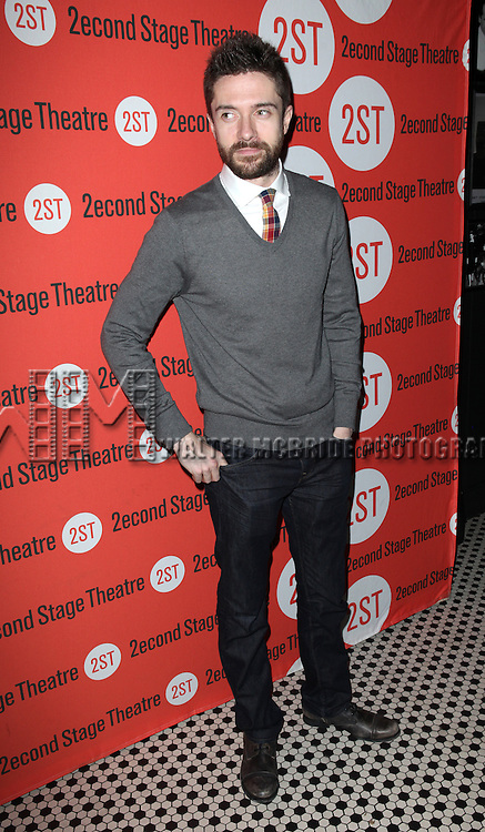 Topher Grace.attending the Off-Broadway Opening Night Performance Party for the Second Stage Theatre's 'Lonely, I'm Not' at HB Burger in New York City on 5/7/2012.