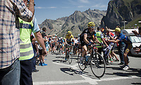 Geraint Thomas (GBR/SKY) leading Chris Froome (GBR/SKY) over the top of the Col du Tourmalet (HC/2115m/17km/7.3%)<br /> <br /> st11: Pau - Cauterets (188km)<br /> 2015 Tour de France