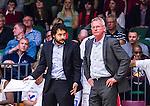 S&ouml;dert&auml;lje 2014-04-15 Basket SM-Semifinal 5 S&ouml;dert&auml;lje Kings - Uppsala Basket :  <br /> tr&auml;nare coach Kelly Grant ser uppgiven ut med assisterande tr&auml;nare Kevin Geynes<br /> (Foto: Kenta J&ouml;nsson) Nyckelord:  S&ouml;dert&auml;lje Kings SBBK Uppsala Basket SM Semifinal Semi T&auml;ljehallen depp besviken besvikelse sorg ledsen deppig nedst&auml;md uppgiven sad disappointment disappointed dejected