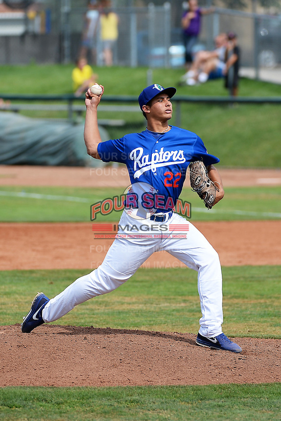 Ogden Raptors starting pitcher Jonathan Martinez (22) delivers a pitch to the plate against the Orem Owlz at Lindquist Field on July 07, 2013 in Ogden Utah. (Stephen Smith/Four Seam Images)