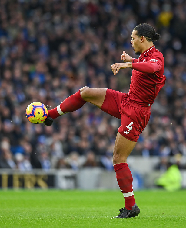 Liverpool's Virgil van Dijk <br /> <br /> Photographer David Horton/CameraSport<br /> <br /> The Premier League - Brighton and Hove Albion v Liverpool - Saturday 12th January 2019 - The Amex Stadium - Brighton<br /> <br /> World Copyright © 2018 CameraSport. All rights reserved. 43 Linden Ave. Countesthorpe. Leicester. England. LE8 5PG - Tel: +44 (0) 116 277 4147 - admin@camerasport.com - www.camerasport.com