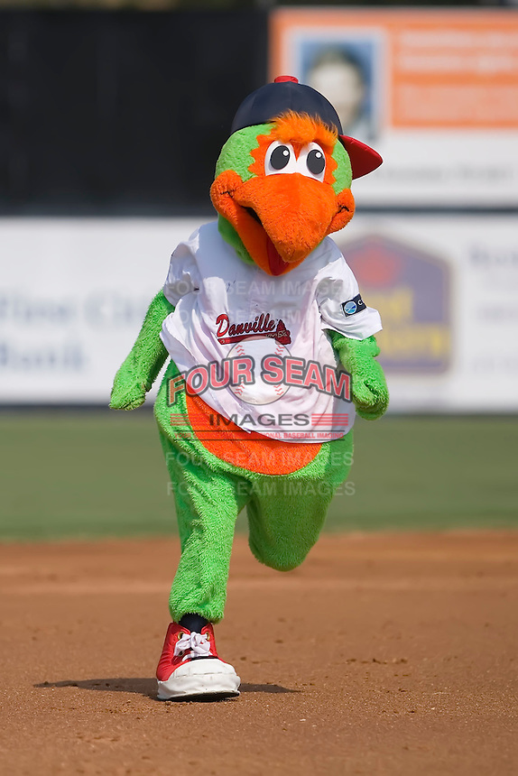 Blooper, the mascot of the Danville Braves, runs the bases at Dan Daniels Park in Danville, VA, Sunday July 27, 2008.