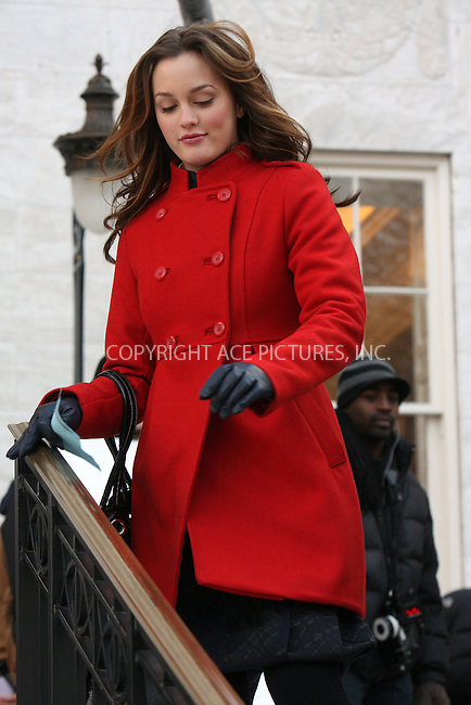 WWW.ACEPIXS.COM . . . . .  ....December 18 2008, New York City....Actress Leighton Meester on the set of the TV show 'Gossip Girl' on December 18 2008 in New York City....Please byline: AJ Sokalner - ACEPIXS.COM..... *** ***..Ace Pictures, Inc:  ..tel: (212) 243 8787..e-mail: info@acepixs.com..web: http://www.acepixs.com