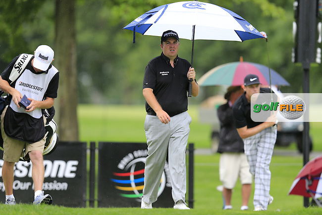 Shane Lowry (IRL) walks off the 9th tee during Friday's Round 1 of the 2013 Bridgestone Invitational WGC tournament held at the Firestone Country Club, Akron, Ohio. 2nd August 2013.<br /> Picture: Eoin Clarke www.golffile.ie