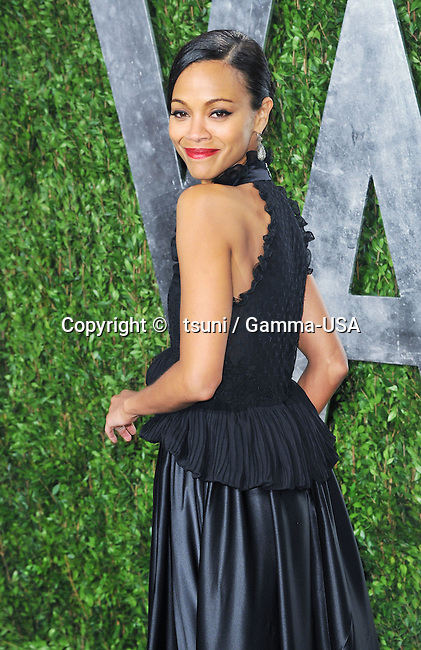 Zoe Saldana 227 at the Vanity Fair 2013 Oscar party at the Sunset Tower in Los Angeles.