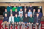 Kerry Golf Club Captains at the appointment of as Kerry captain in Killarney Golf and Fishing club on Wednesday night front row l-r: John Cooper Beaufort (Treasurer), Tom Grant Secretary, Joe McMahon Kerry Captain, Donal Piggot (outgoing captain), Michael Ashe (outgoing Secretary), Pat Lynch (outgoing treasurer), Pat Cussen (outgoing treasurer). Middle row: Andy Lee Ring of Kerry, John Joe Tangney Killorglin, Donie O'Sullivan Ceann Sibeal, Sean O'Connor Castlegregory, Joe Gaffey Dunloe, Patrick Fitzgerald Skellig Bay, Ben Foley Castleisland, Brendan Sinnot Ardfert. Back row: James Long Dooks, Mick O'Connell Tralee, Michael Quirke Beaufort, Tom Gentleman Ballyheigue and Denis Crowley Kenmare