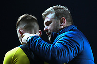 4th February 2020; Kassam Stadium, Oxford, Oxfordshire, England; English FA Cup Football; Oxford United versus Newcastle United; Karl Robinson Manager of Oxford consoles Mark Sykes after the match