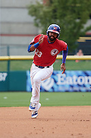 Buffalo Bisons left fielder Dalton Pompey (23) running the bases during a game against the Syracuse Chiefs on July 31, 2016 at Coca-Cola Field in Buffalo, New York.  Buffalo defeated Syracuse 6-5.  (Mike Janes/Four Seam Images)