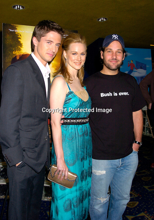 "Laura LInney, Topher Grace and Paul Rudd ..at the New York Premiere of ""ps"" on October 12, 2004 ..at the Clearview Chelsea West. ..Photo by Robin Platzer, Twin Images"