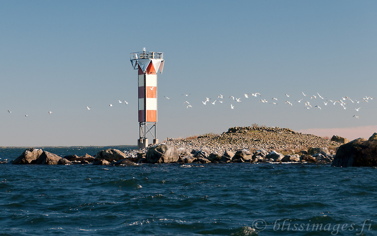 Merikarvia lighthouse is situated in shallow rocky waters on a small skerry in the Gulf of Bothnia off the coast of western Finland.