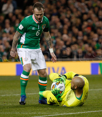 March 24th 2017, Aviva Stadium, Dublin, Republic of Ireland; World Cup 2018 Qualifier mens football, Republic of Ireland versus Wales; Darren Randolph with a save for Rep of Ireland