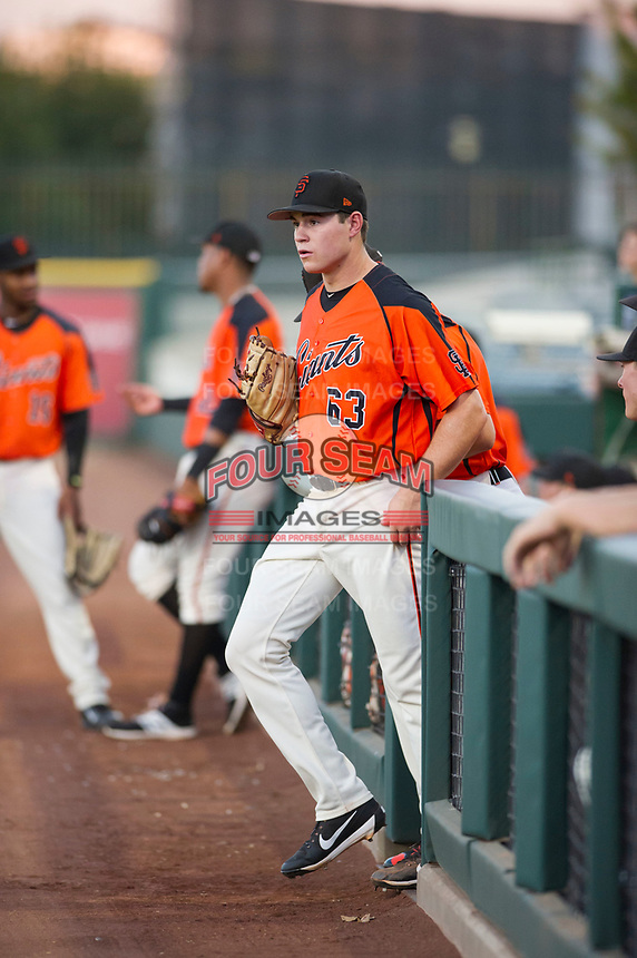 AZL Giants starting pitcher Seth Corry (63) jogs to the mound against the AZL Rangers on August 22 at Scottsdale Stadium in Scottsdale, Arizona. AZL Rangers defeated the AZL Giants 7-5. (Zachary Lucy/Four Seam Images via AP Images)