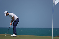 Filippo Bergamichi (ITA) on the 9th green during the final round of the Oman Open, Al Mouj Golf, Muscat, Sultanate of Oman. 03/03/2019<br /> Picture: Golffile | Phil Inglis<br /> <br /> <br /> All photo usage must carry mandatory copyright credit (&copy; Golffile | Phil Inglis)