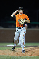 Frederick Keys relief pitcher James Teague (32) makes a throw to first base against the Buies Creek Astros at Jim Perry Stadium on April 28, 2018 in Buies Creek, North Carolina. The Astros defeated the Keys 9-4.  (Brian Westerholt/Four Seam Images)